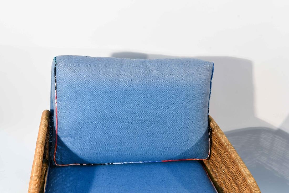 PAIR OF WICKER & BLUE UPHOLSTERED CHAIRS - 3