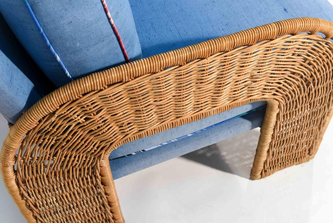 PAIR OF WICKER & BLUE UPHOLSTERED CHAIRS - 4