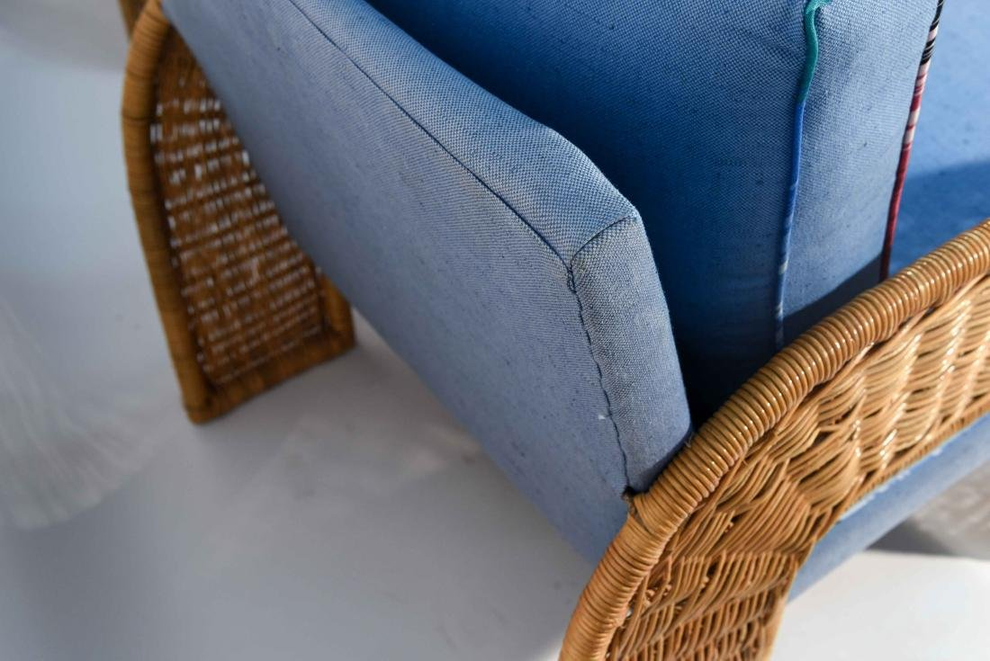 PAIR OF WICKER & BLUE UPHOLSTERED CHAIRS - 5