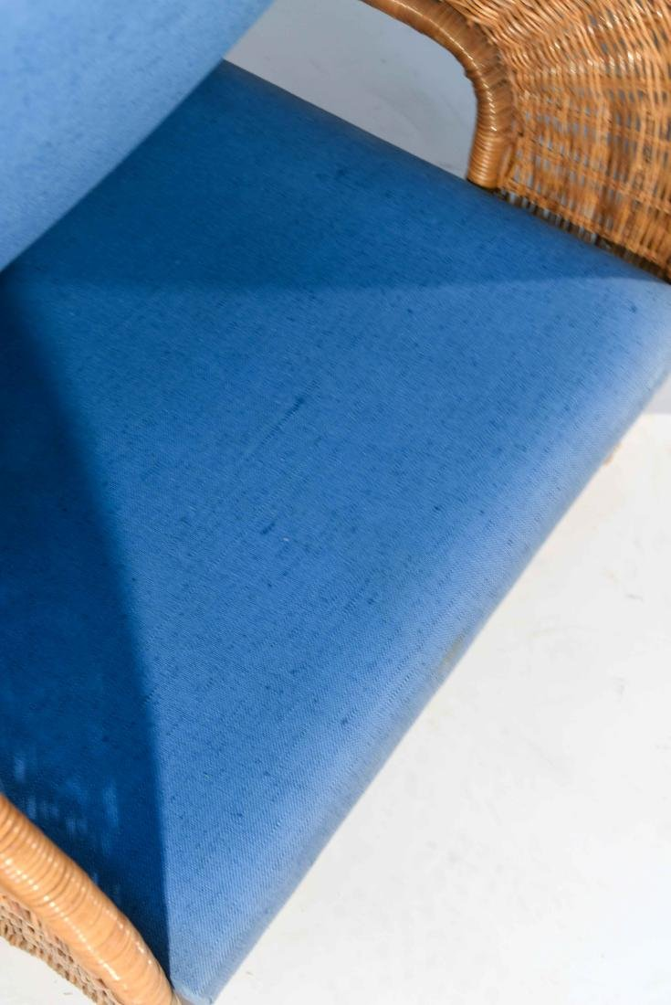 PAIR OF WICKER & BLUE UPHOLSTERED CHAIRS - 6