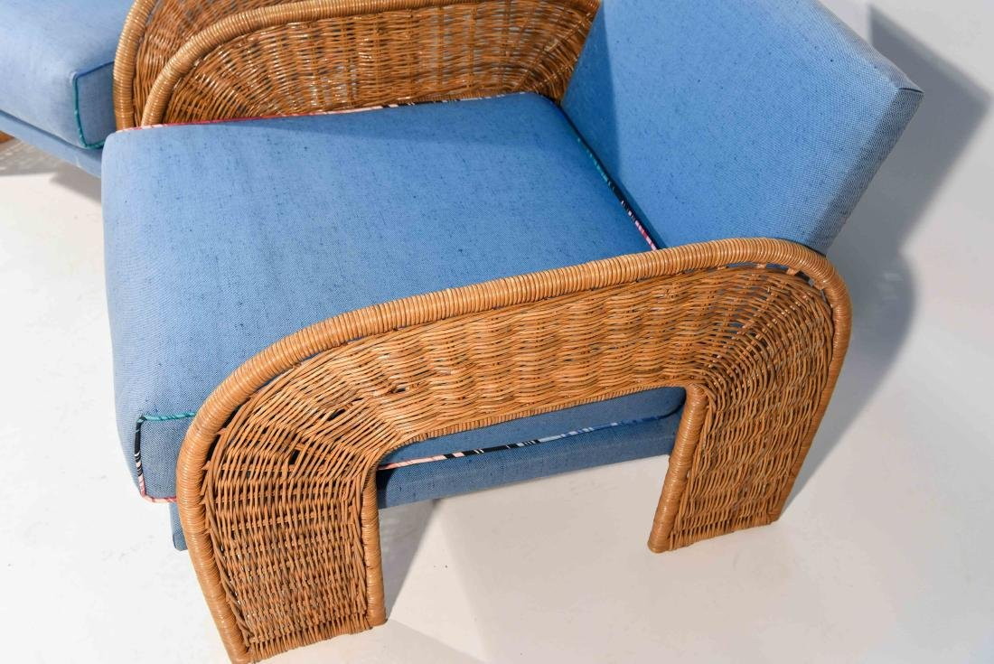 PAIR OF WICKER & BLUE UPHOLSTERED CHAIRS - 8