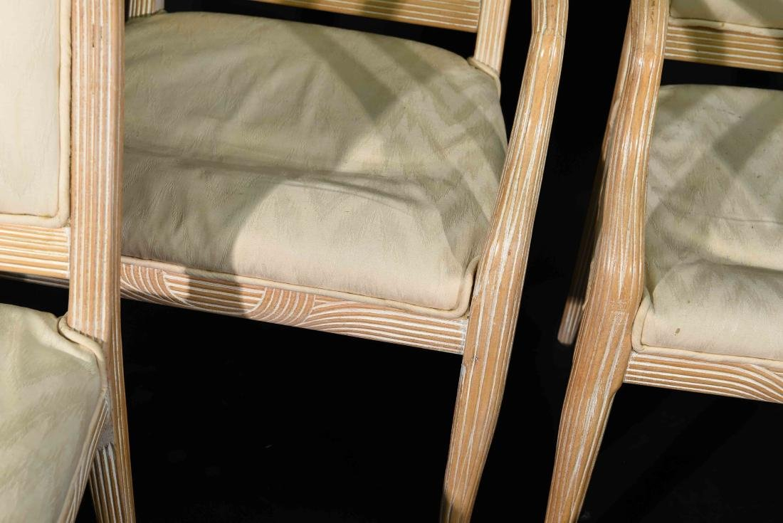 (4) JAMES MONT STYLE CERUSED OAK DINING CHAIRS - 6
