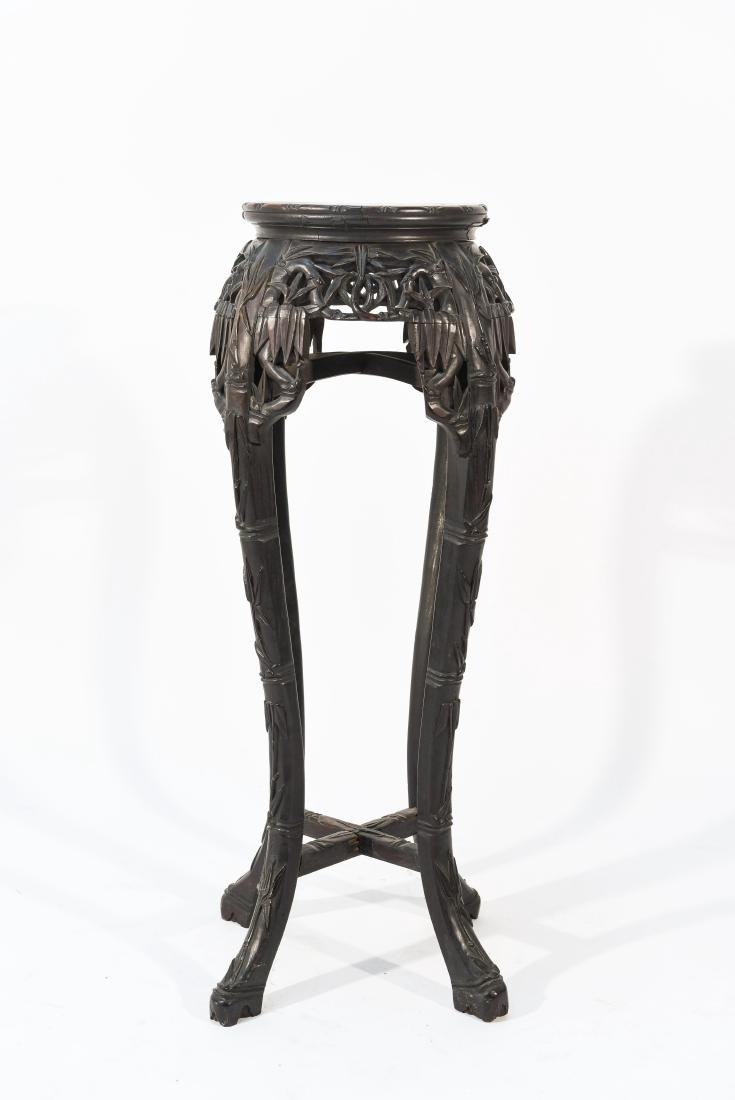 CHINESE POT STAND PEDESTAL WITH MARBLE