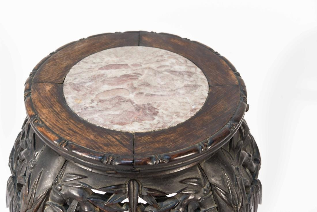 CHINESE POT STAND PEDESTAL WITH MARBLE - 2