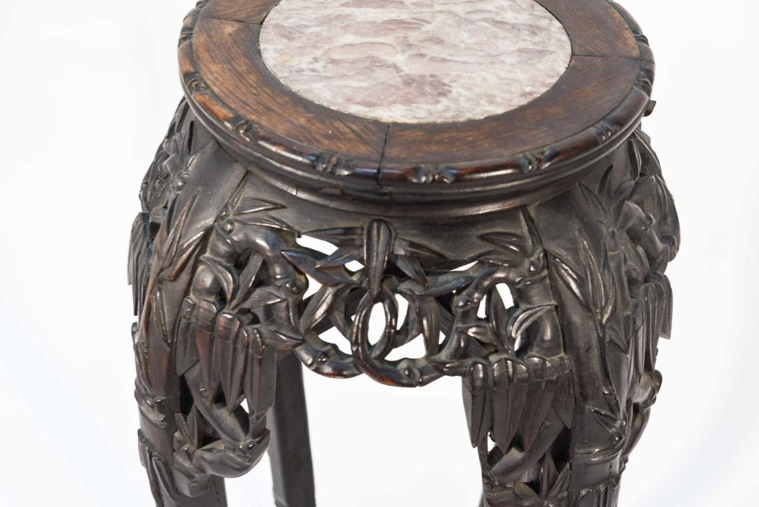 CHINESE POT STAND PEDESTAL WITH MARBLE - 3