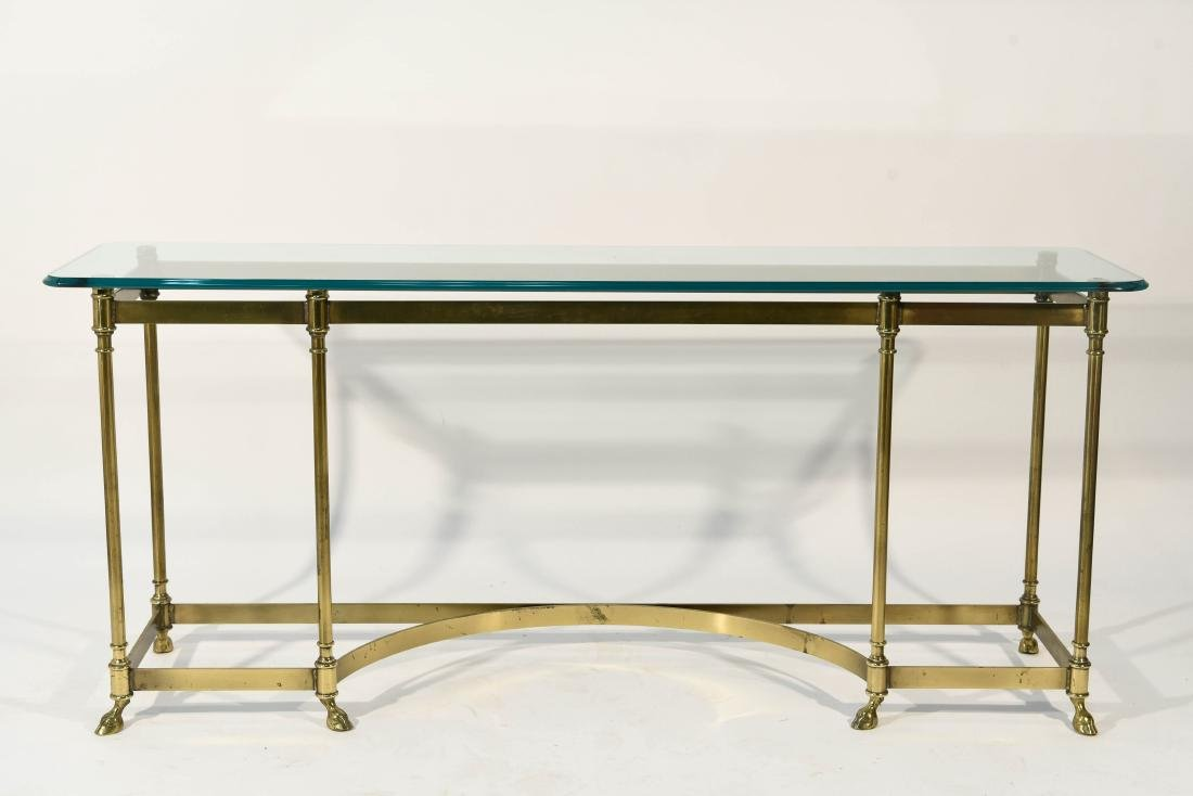 BRONZE AND GLASS MID CENTURY CONSOLE HOOF FEET