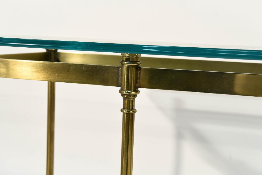 BRONZE AND GLASS MID CENTURY CONSOLE HOOF FEET - 7