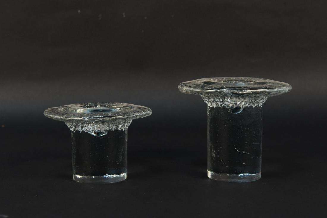 PAIR OF BLENKO GLASS CANDLE HOLDERS