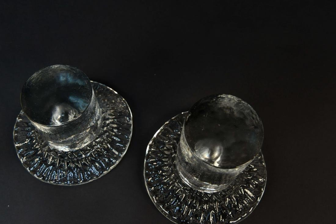 PAIR OF BLENKO GLASS CANDLE HOLDERS - 6