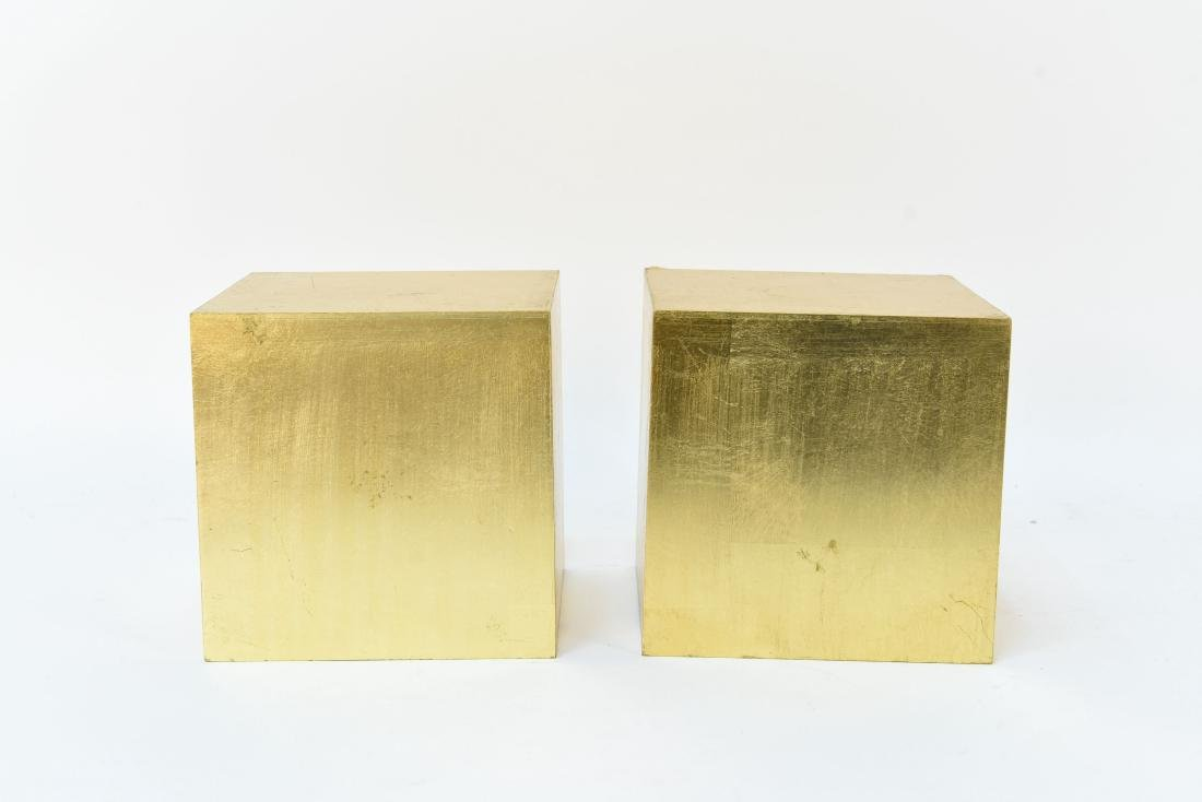 PAIR OF GOLD DISPLAY CUBES