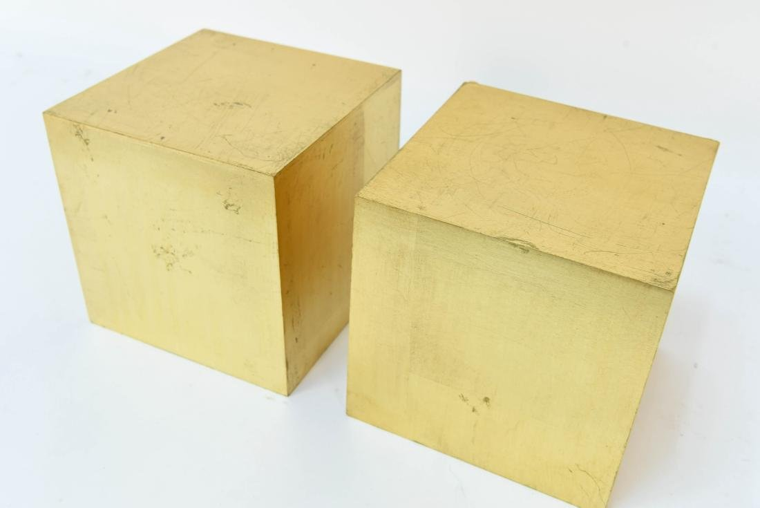PAIR OF GOLD DISPLAY CUBES - 4