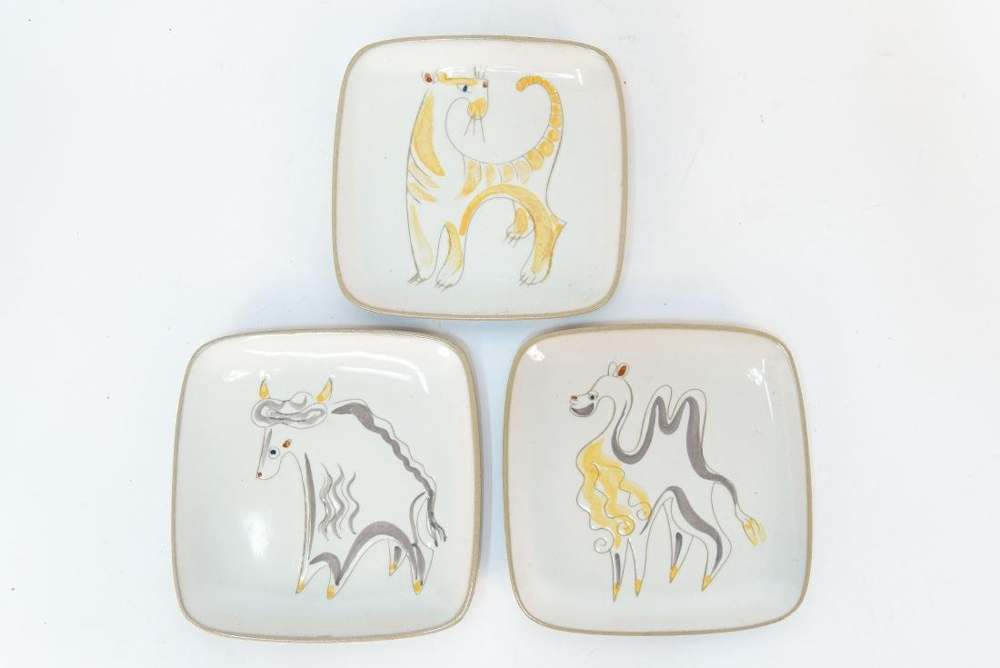 3 GILDDEN ANIMAL PLATES
