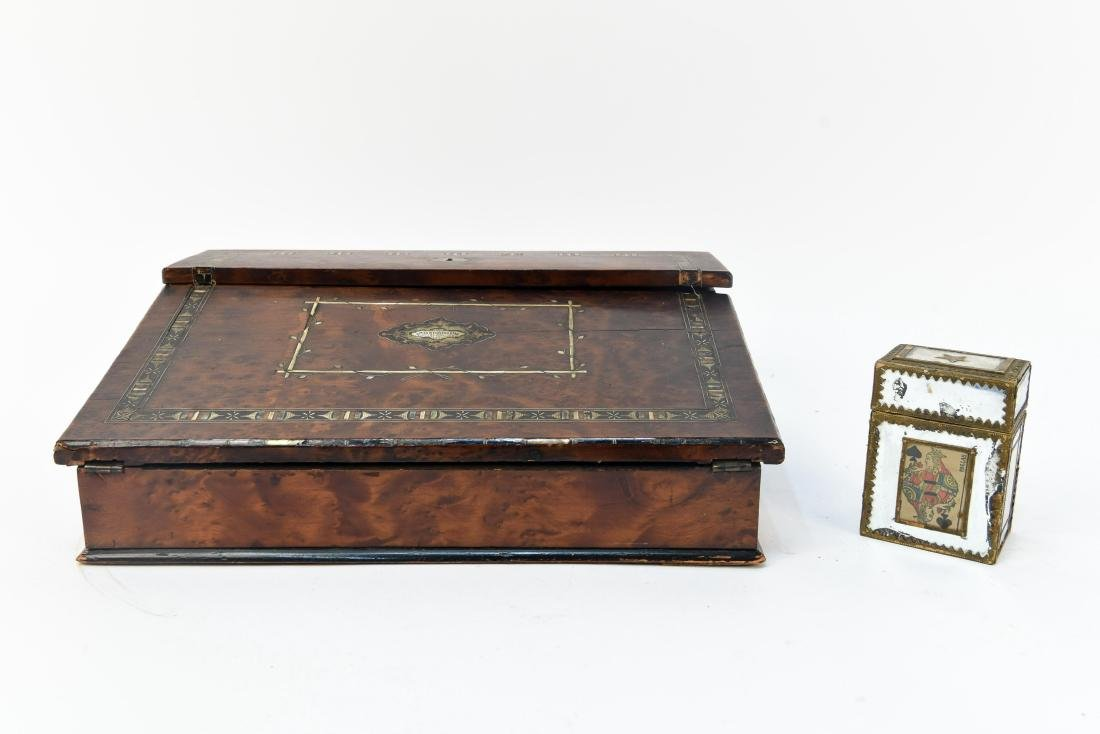 ANTIQUE LAP DESK WITH PLAYING CARDS & CASE