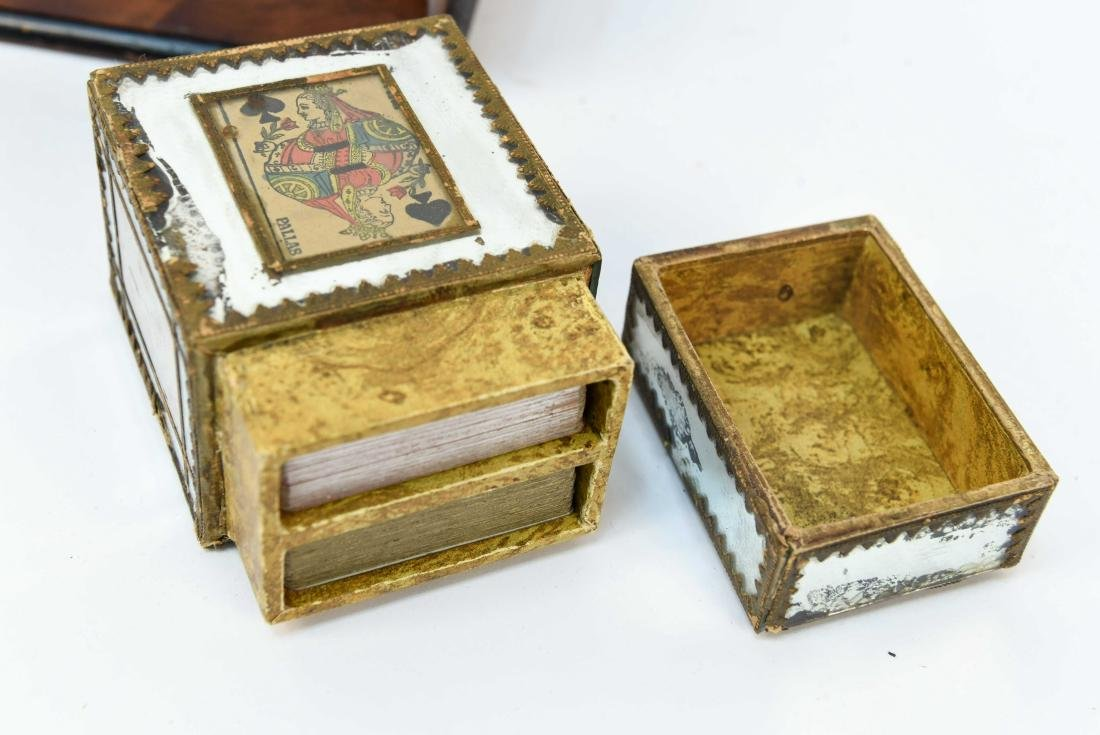 ANTIQUE LAP DESK WITH PLAYING CARDS & CASE - 2