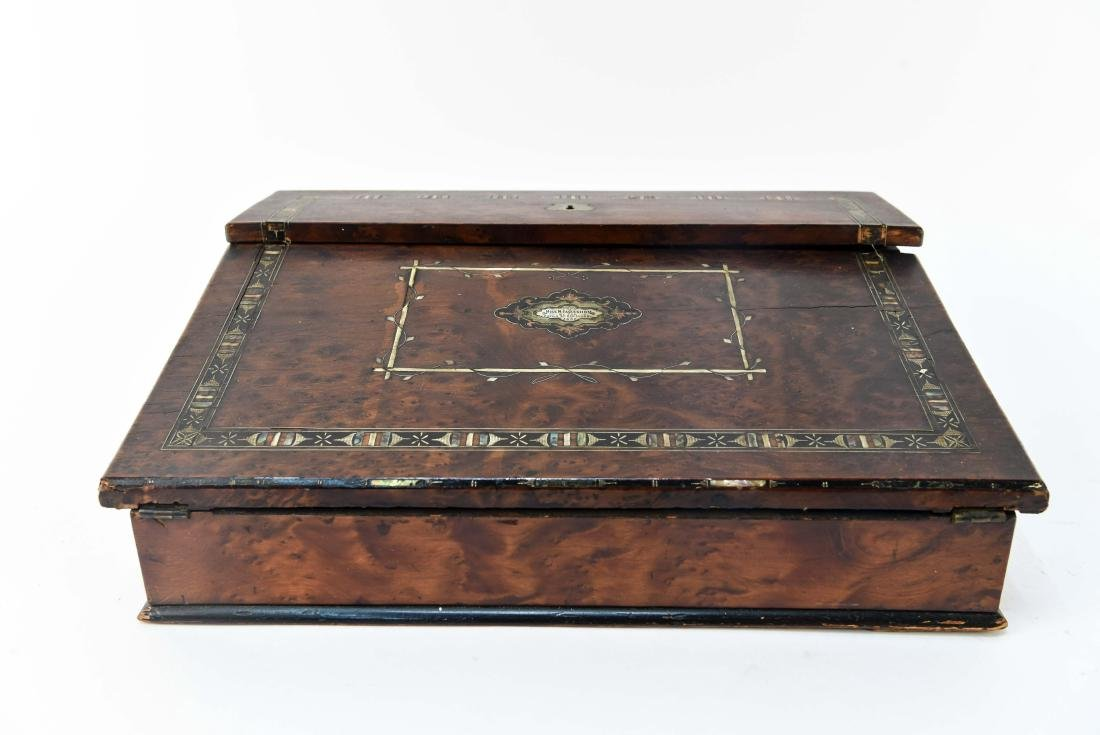 ANTIQUE LAP DESK WITH PLAYING CARDS & CASE - 3