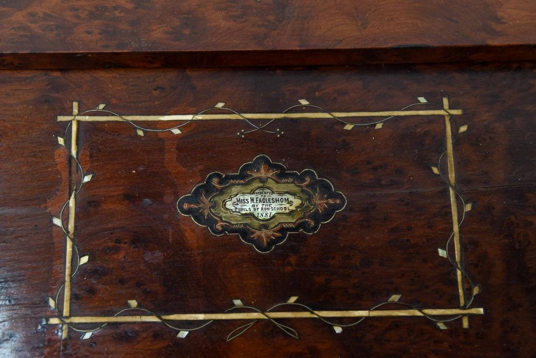 ANTIQUE LAP DESK WITH PLAYING CARDS & CASE - 4