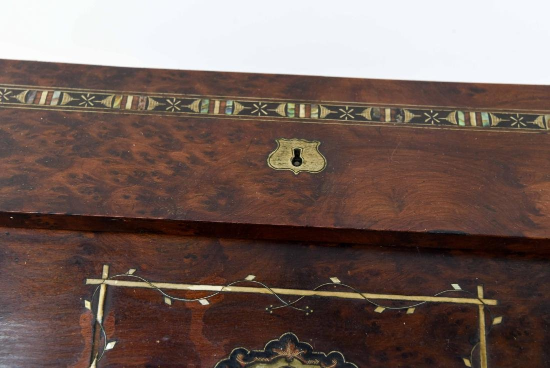 ANTIQUE LAP DESK WITH PLAYING CARDS & CASE - 5