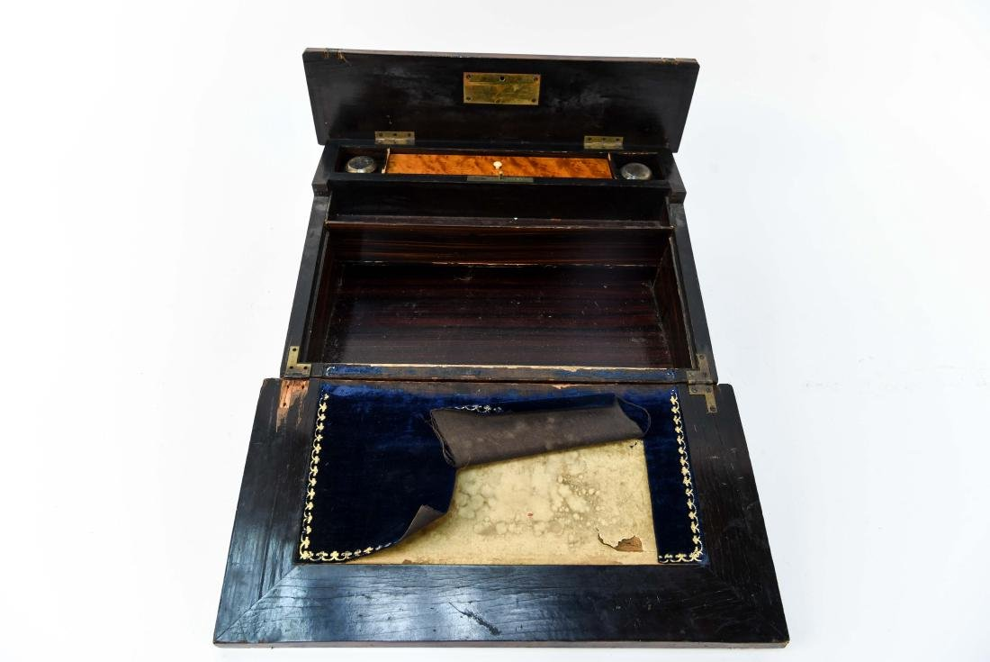 ANTIQUE LAP DESK WITH PLAYING CARDS & CASE - 6