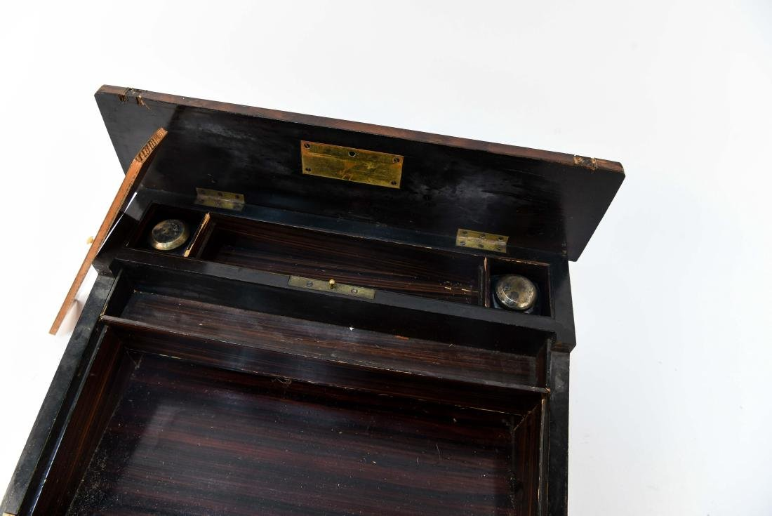 ANTIQUE LAP DESK WITH PLAYING CARDS & CASE - 7