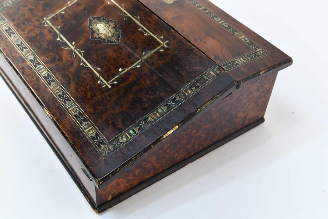 ANTIQUE LAP DESK WITH PLAYING CARDS & CASE - 8