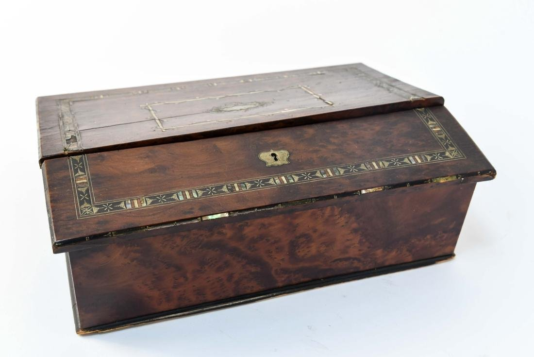 ANTIQUE LAP DESK WITH PLAYING CARDS & CASE - 9