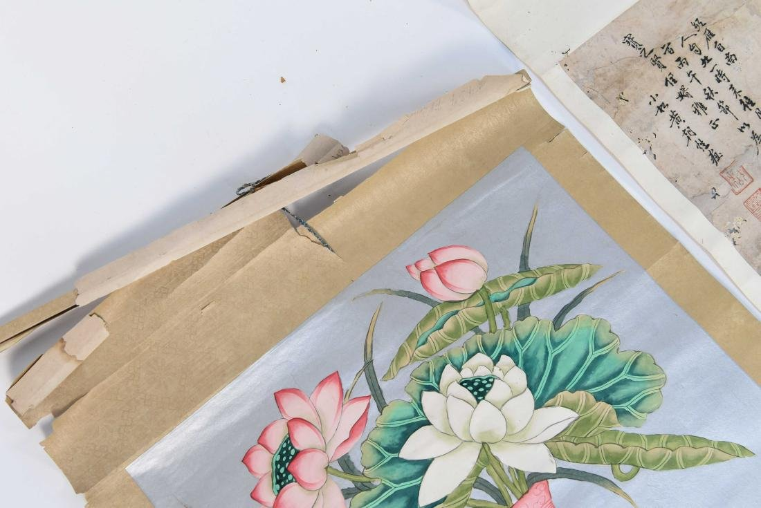 GROUPING INCL. (3) SCROLLS AND WATERCOLOR PAINTING - 7