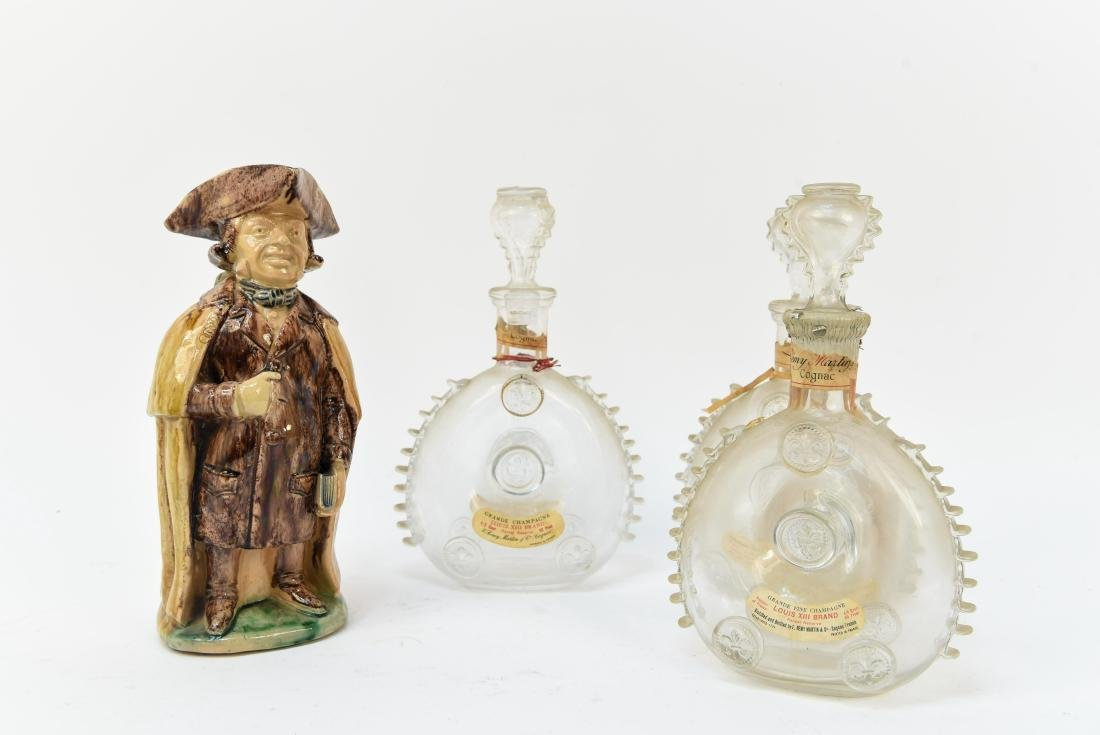 BACARAT AND PORCELAIN DECANTER GROUPING
