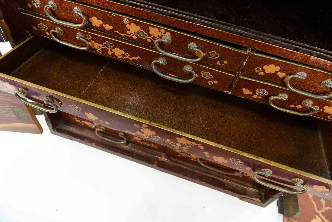 ANTIQUE JAPANESE LACQUER CABINET - 6