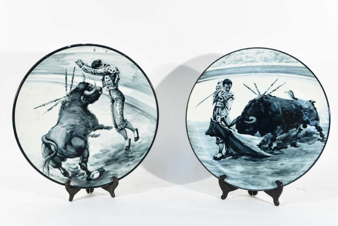 (2) SPANISH CERAMIC BULL FIGHT CHARGERS