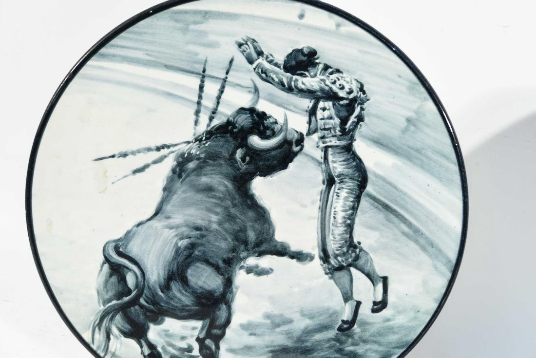 (2) SPANISH CERAMIC BULL FIGHT CHARGERS - 2