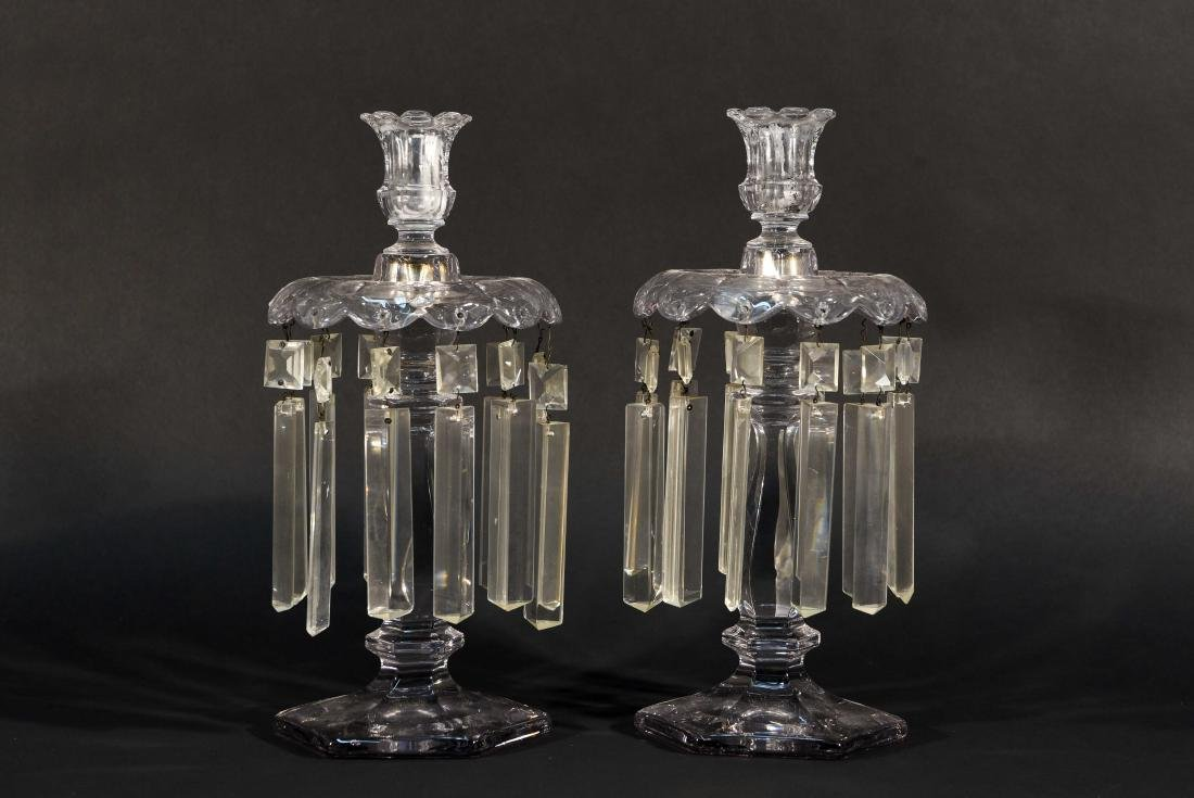 PAIR OF CRYSTAL PRISM CANDLESTICKS