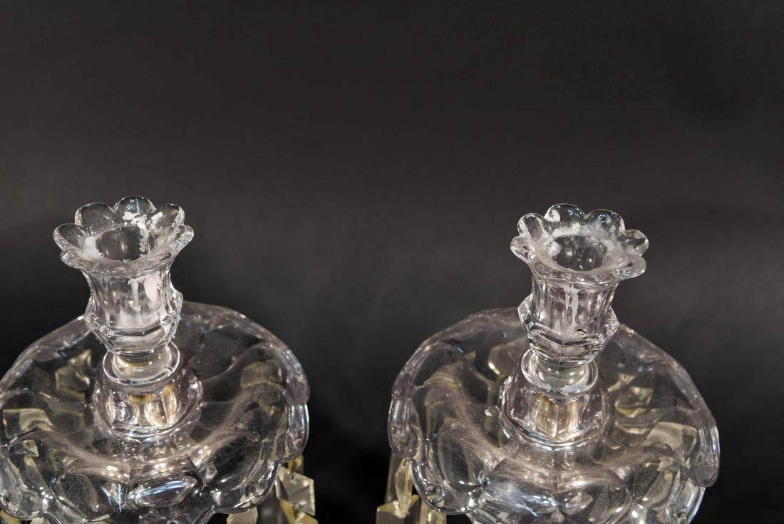 PAIR OF CRYSTAL PRISM CANDLESTICKS - 2