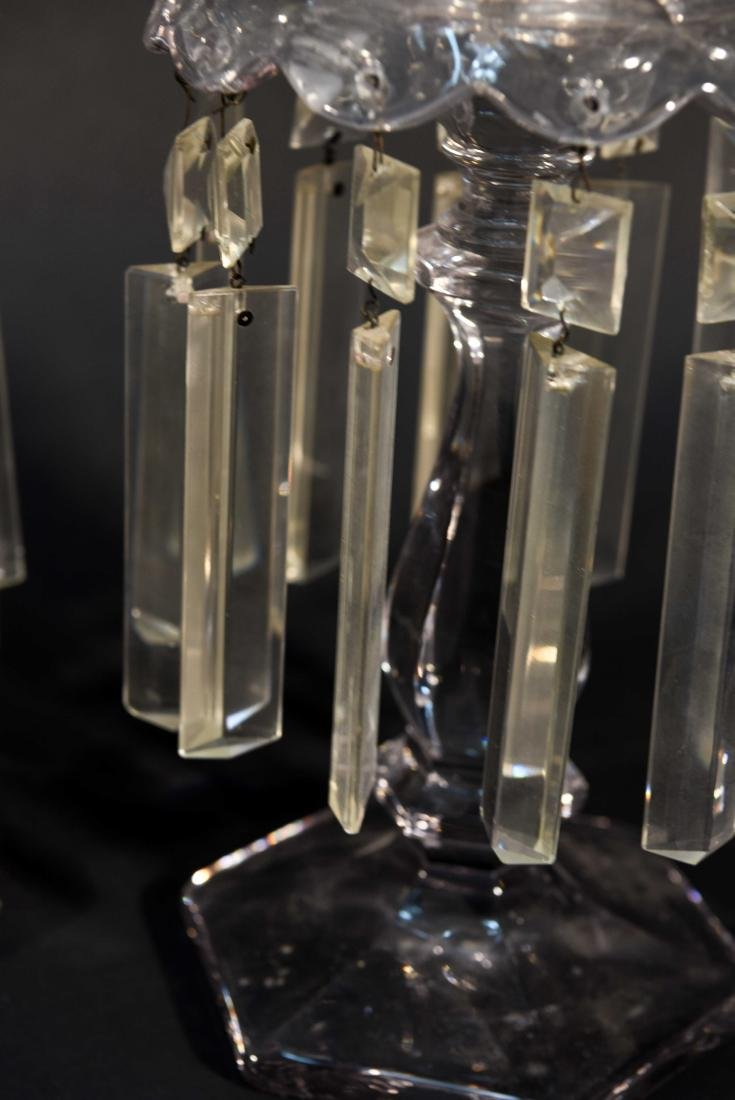 PAIR OF CRYSTAL PRISM CANDLESTICKS - 6