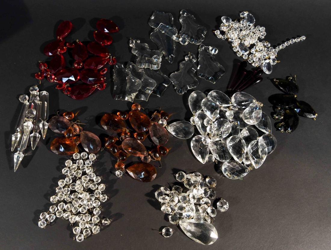 CHANDELIER PARTS CRYSTALS & BEADS GROUPING