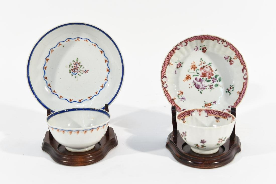 (2) CHINESE EXPORT PORCELAIN CUPS AND SAUCERS