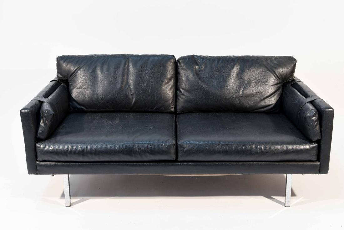 BLACK LEATHER OR VINYL MAURICE VALLENCY LOVE SEAT