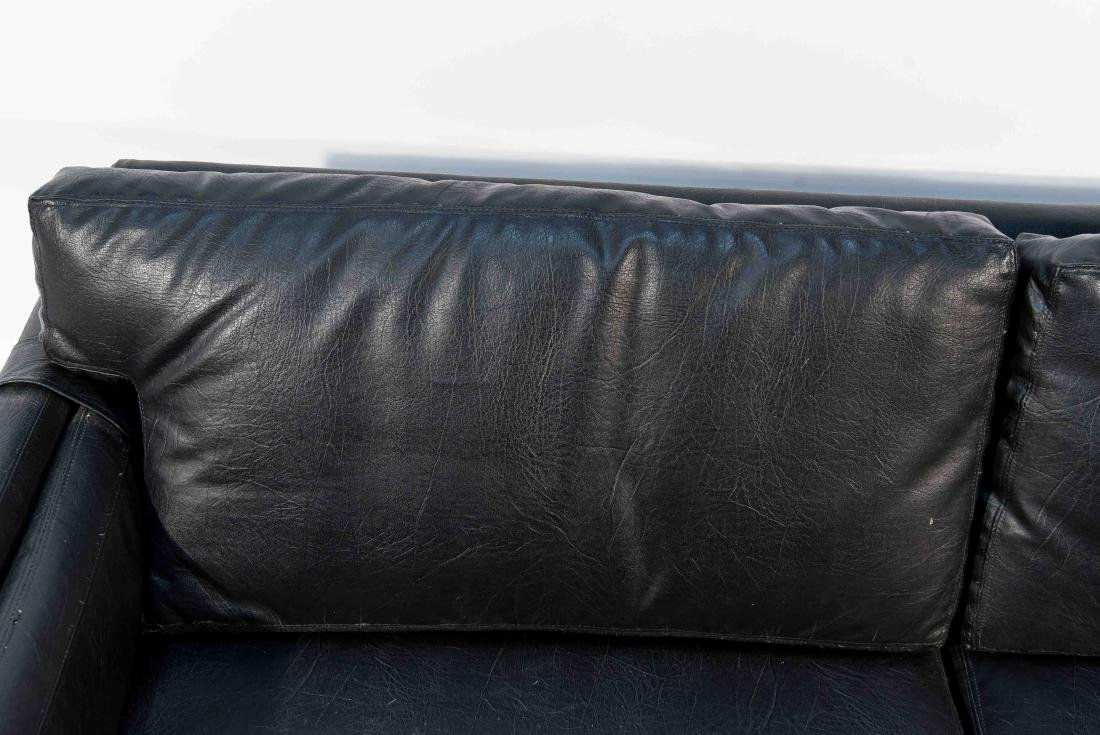 BLACK LEATHER OR VINYL MAURICE VALLENCY LOVE SEAT - 2