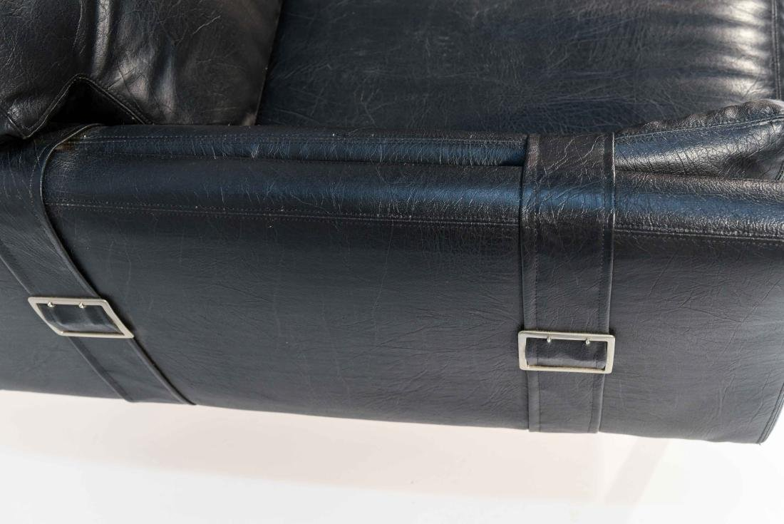 BLACK LEATHER OR VINYL MAURICE VALLENCY LOVE SEAT - 3