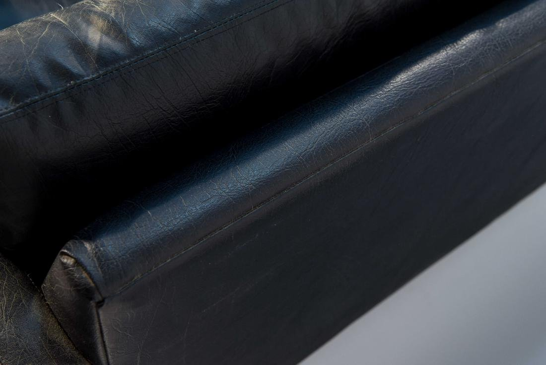 BLACK LEATHER OR VINYL MAURICE VALLENCY LOVE SEAT - 6