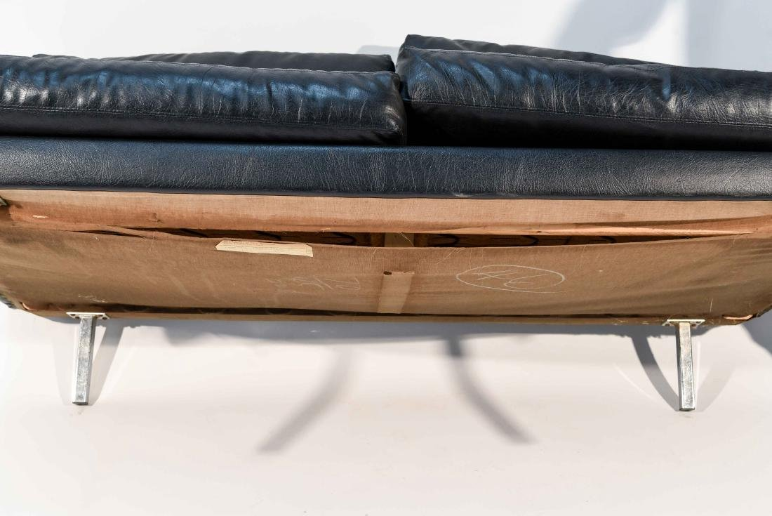 BLACK LEATHER OR VINYL MAURICE VALLENCY LOVE SEAT - 9