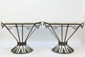 ART DECO IRON & BRONZE MARBLE TOP CONSOLE TABLES