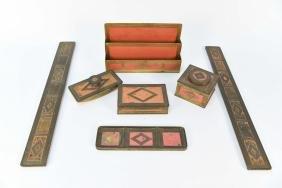 TIFFANY STUDIOS GRADUATE DESK SET C. 1910-1920