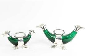 PAIR SHEFFIELD SILVER PLATE GLASS DUCK DECANTERS