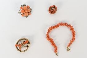 ANTIQUE CORAL JEWELRY GROUPING