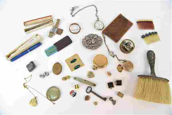 GROUPING OF ANTIQUE JEWELRY, WATCHES, ETC.