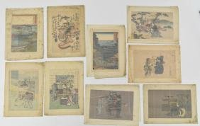 (9) 20TH CENTURY JAPANESE WOODBLOCK PRINTS