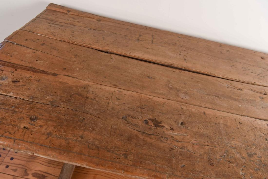 ANTIQUE WOODEN TRESTLE TABLE - 2