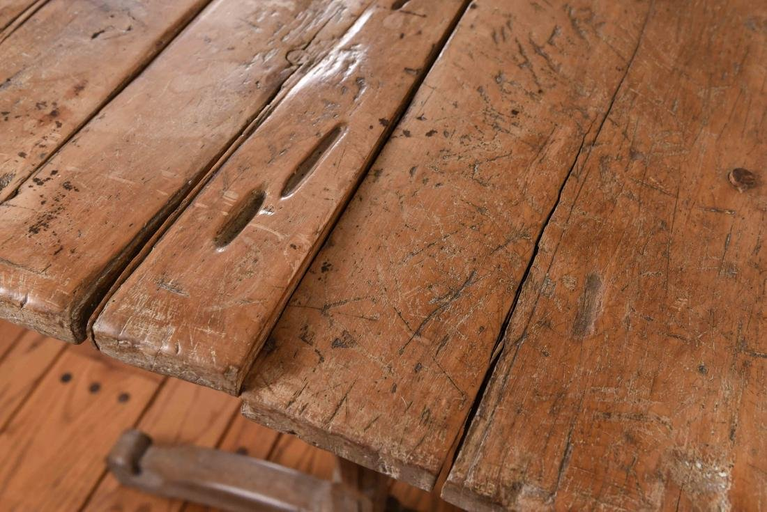 ANTIQUE WOODEN TRESTLE TABLE - 5