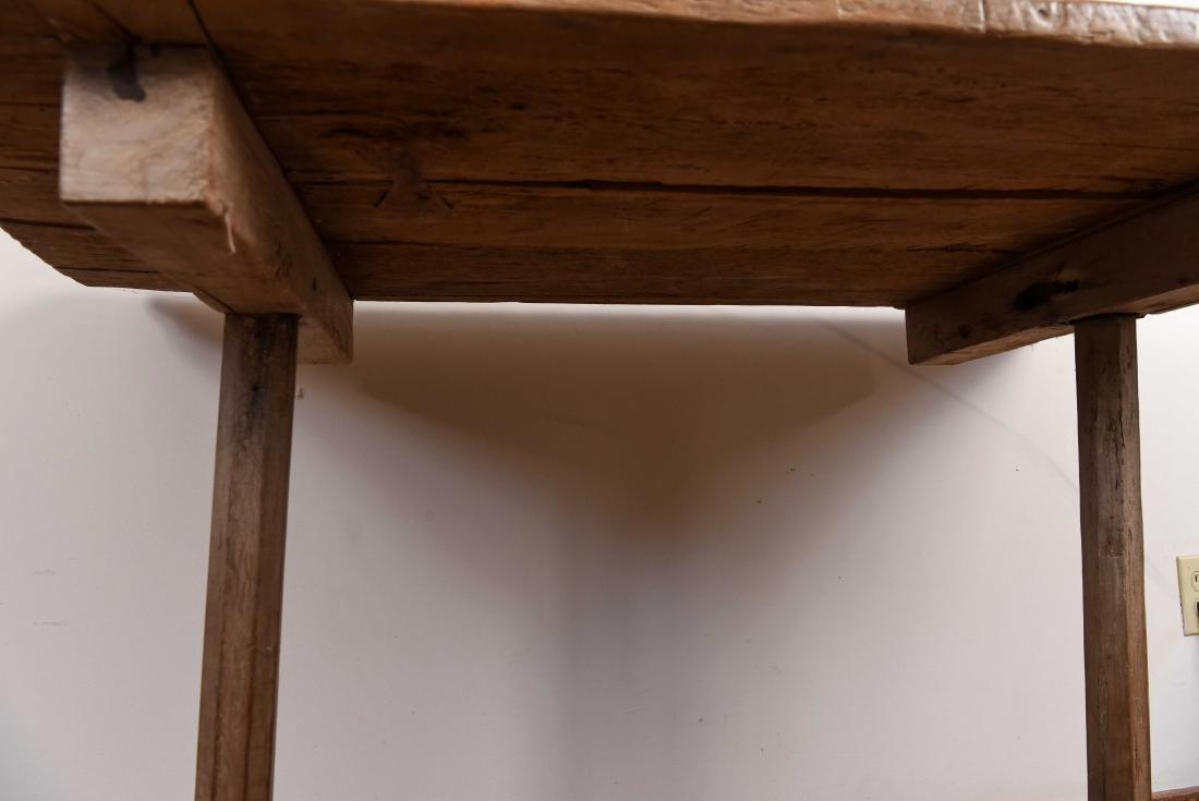 ANTIQUE WOODEN TRESTLE TABLE - 7