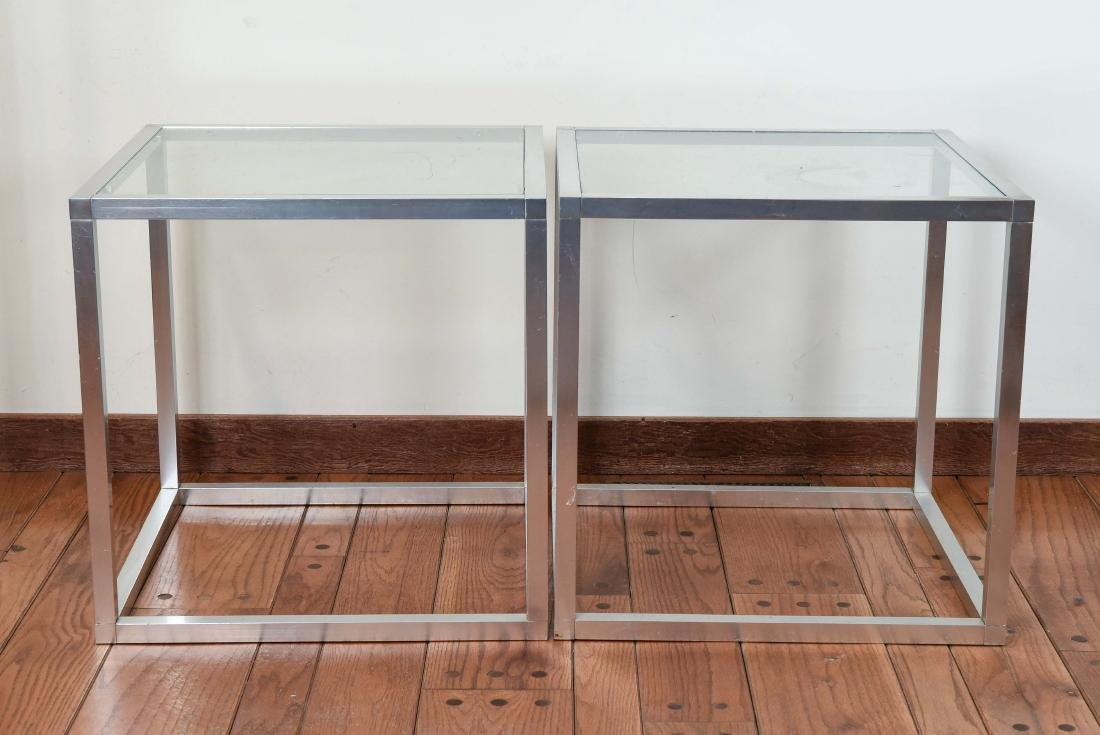 MID-CENTURY ALUMINUM CUBE END TABLES